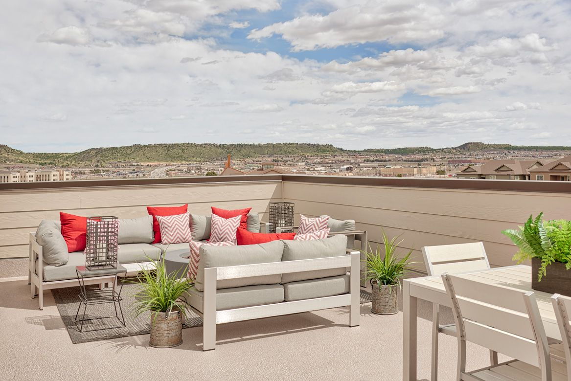 Inviting rooftop patio | Soho model home | Castle Rock ... on Front Range Outdoor Living id=49219