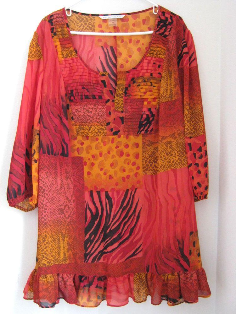 9d2cb0ee4a8 Peter Nygard Shirt 22 3/4 Sleeve Tunic Sheer Orange Red Pink Animal Print  #PeterNygard #Tunic