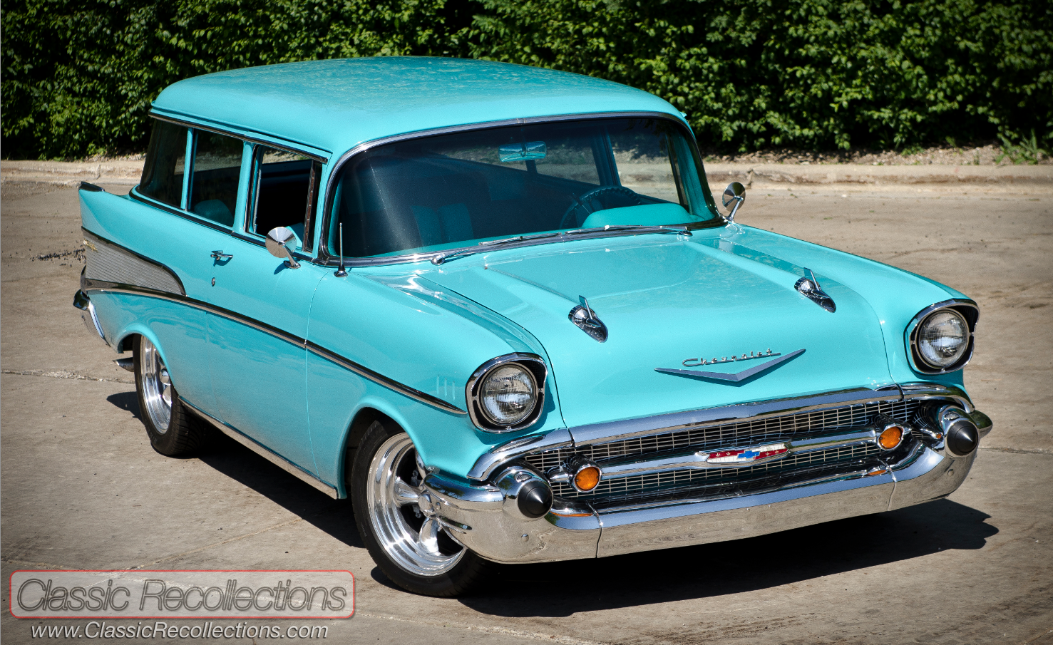 This isn\'t a Nomad but this \'57 Wagon is decked out in Bel Air ...