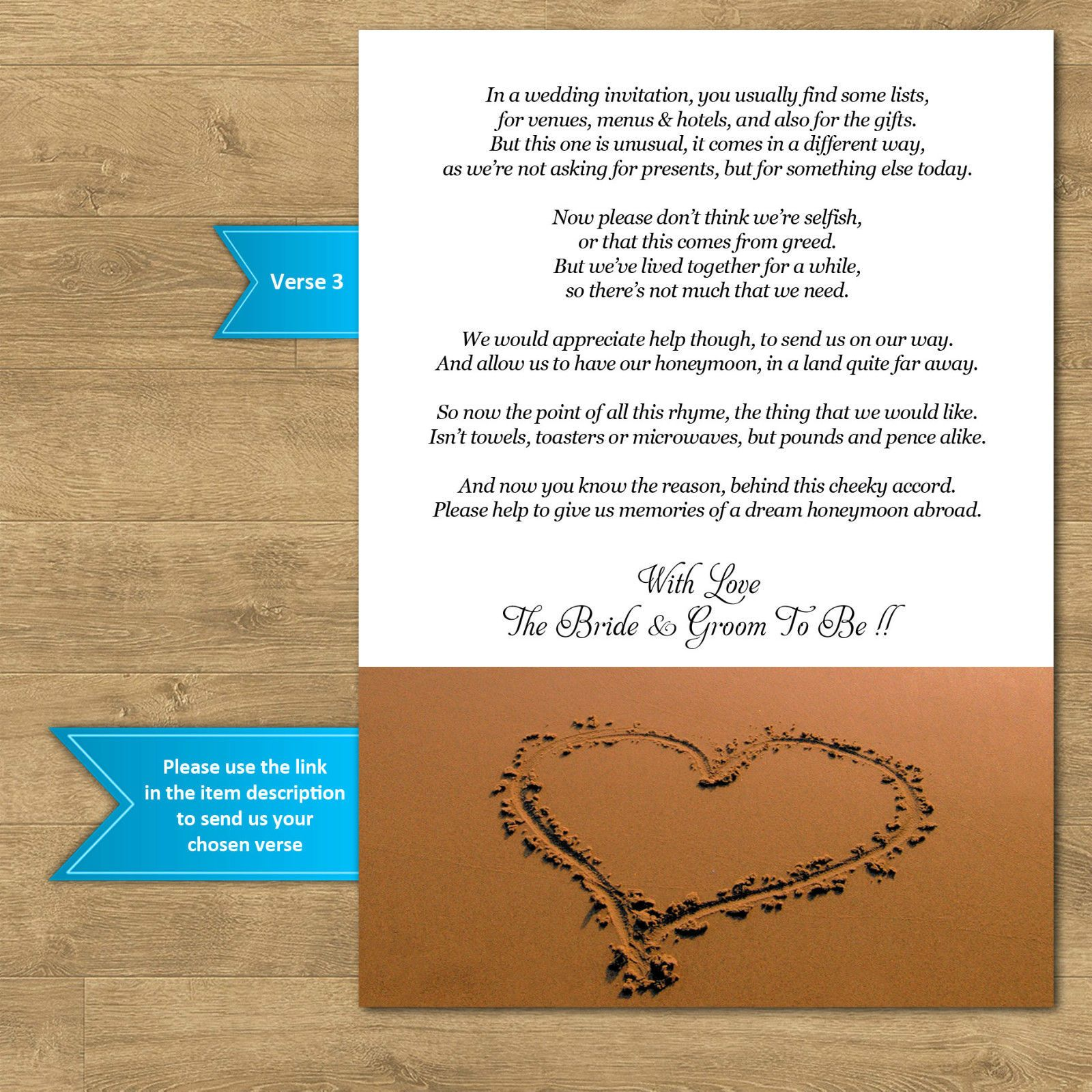 Wedding Money Gift Voucher Poem Cards For Invites A7 or A6 Beach ...