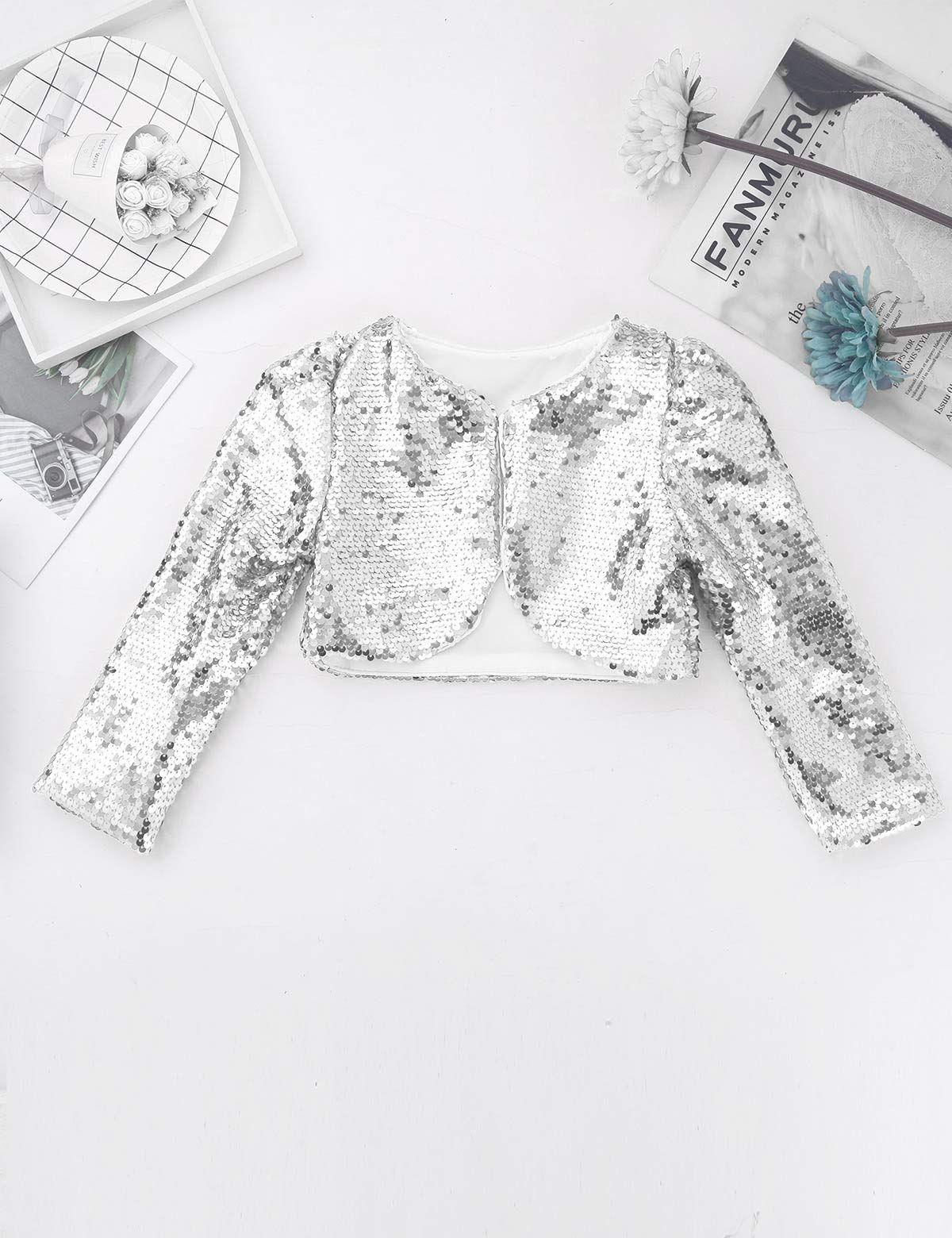 dPois Kids Baby Girls' Sequins Long Sleeves Cropped Blazer Bolero Wedding Jacket Shrug Party Cardigan Coat, #Ad #Long, #Sequins, #Cropped, #Sleeves