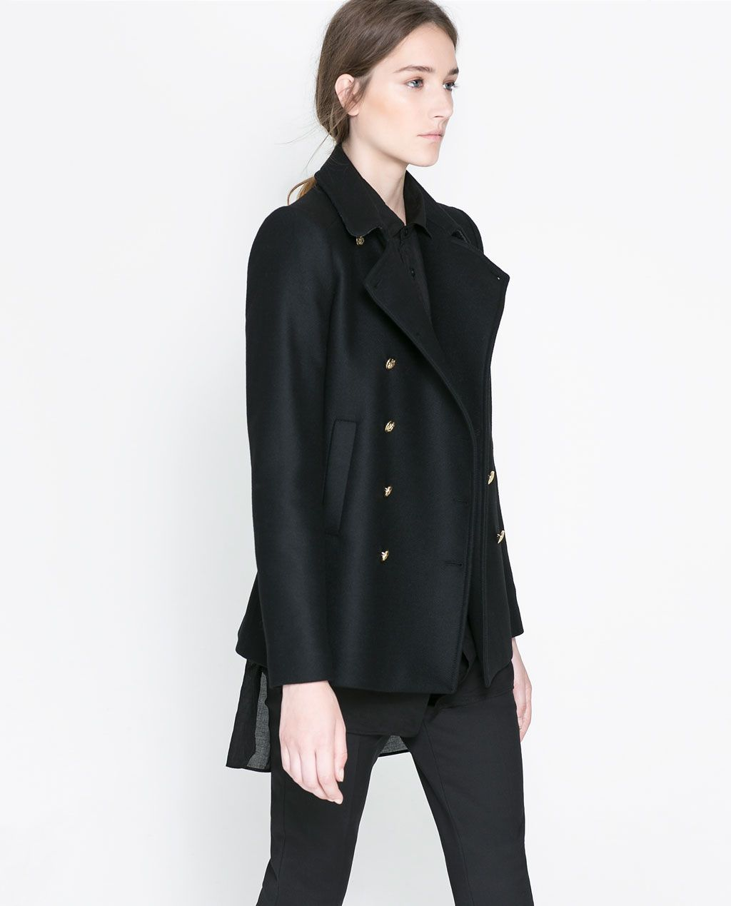 ZARA - WOMAN - SHORT COAT WITH METALLIC BUTTONS