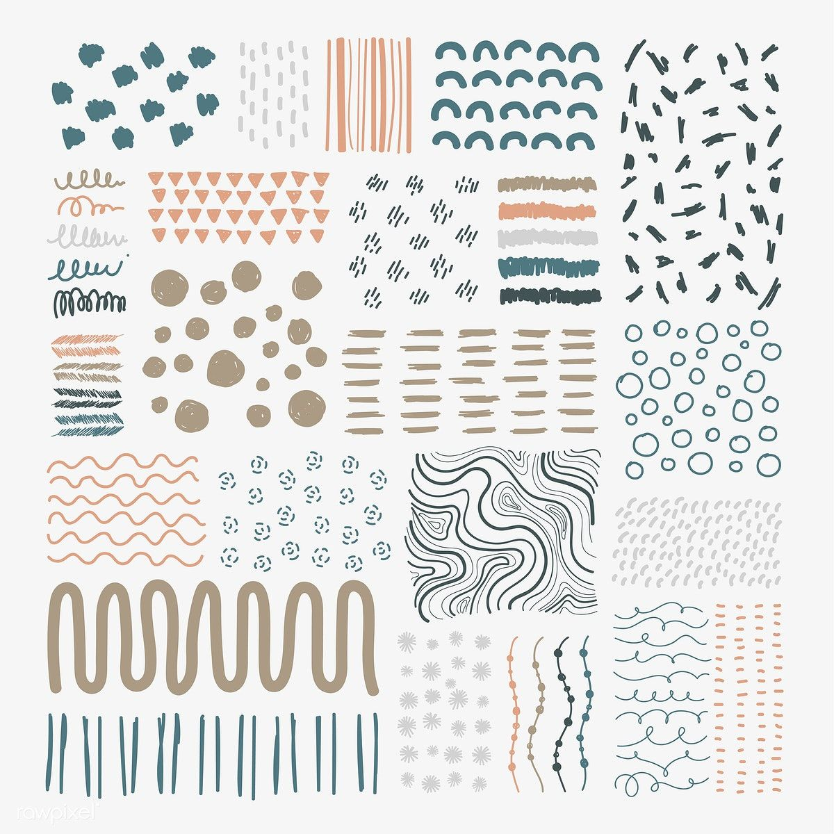FREE - Hand drawn patterned design elements vector set | free image by rawpixel.com / Sicha