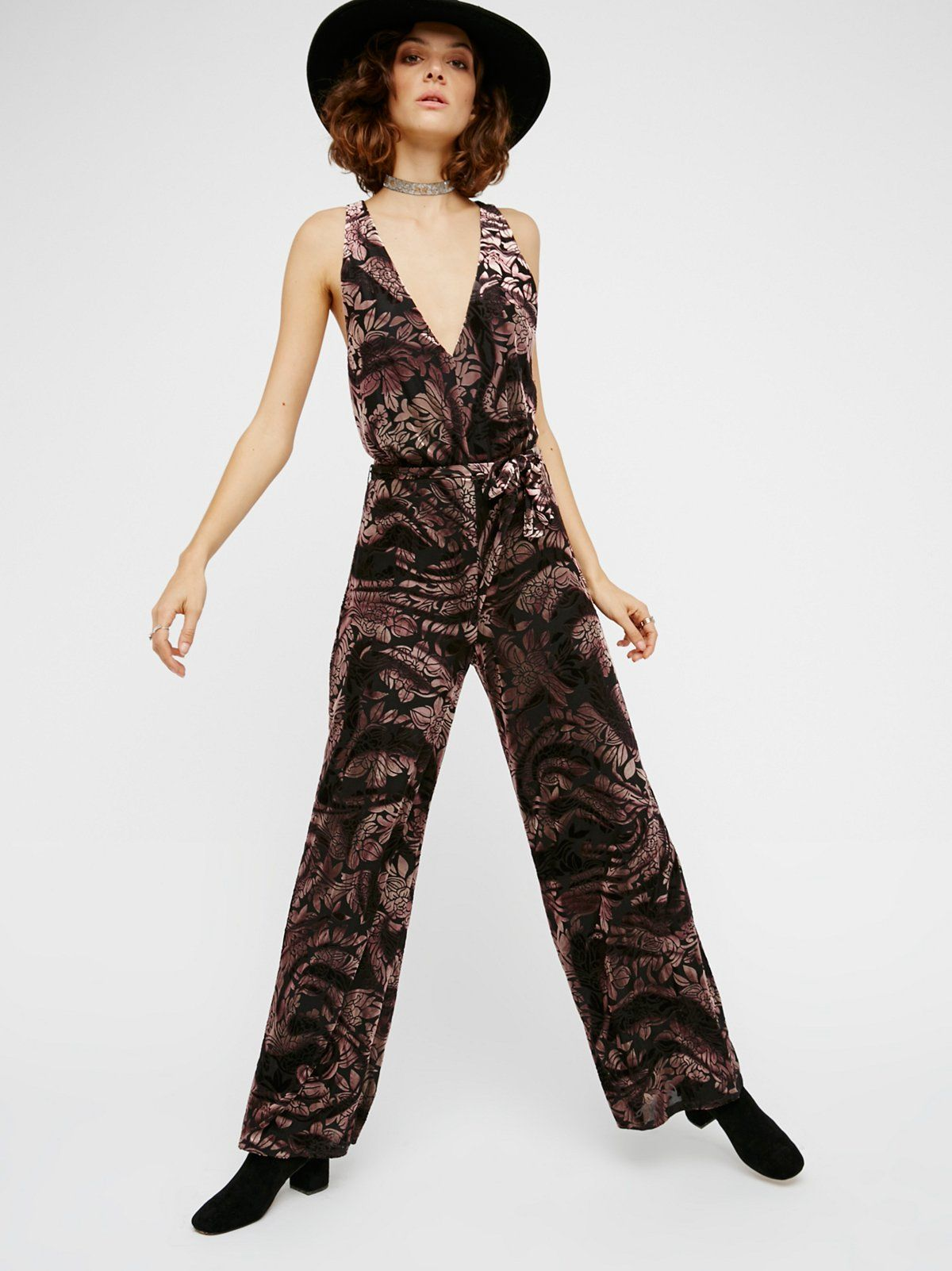 Piper one piece flared one piece with pretty floral velvet accents