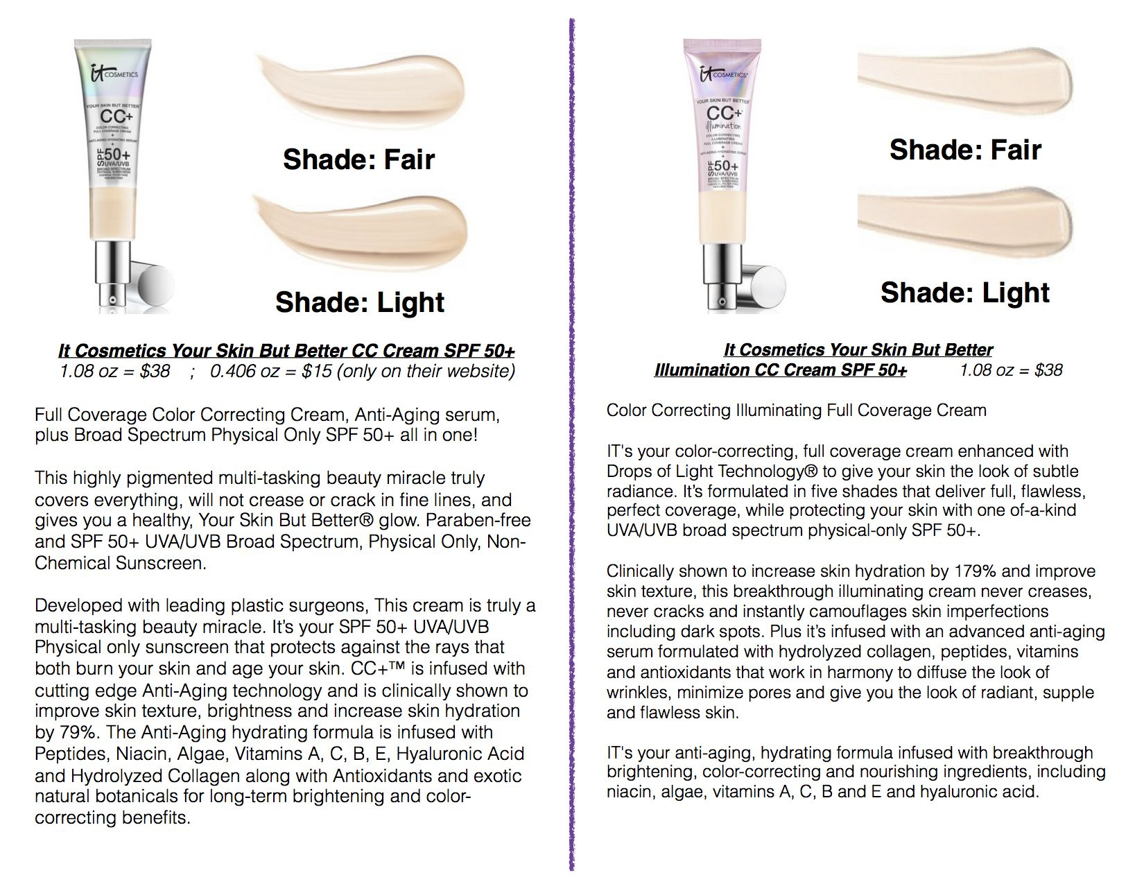 Pin By Colleen B On Makeup It Cosmetics Cc Cream Swatches It Cosmetics Cc Cream No Foundation Makeup