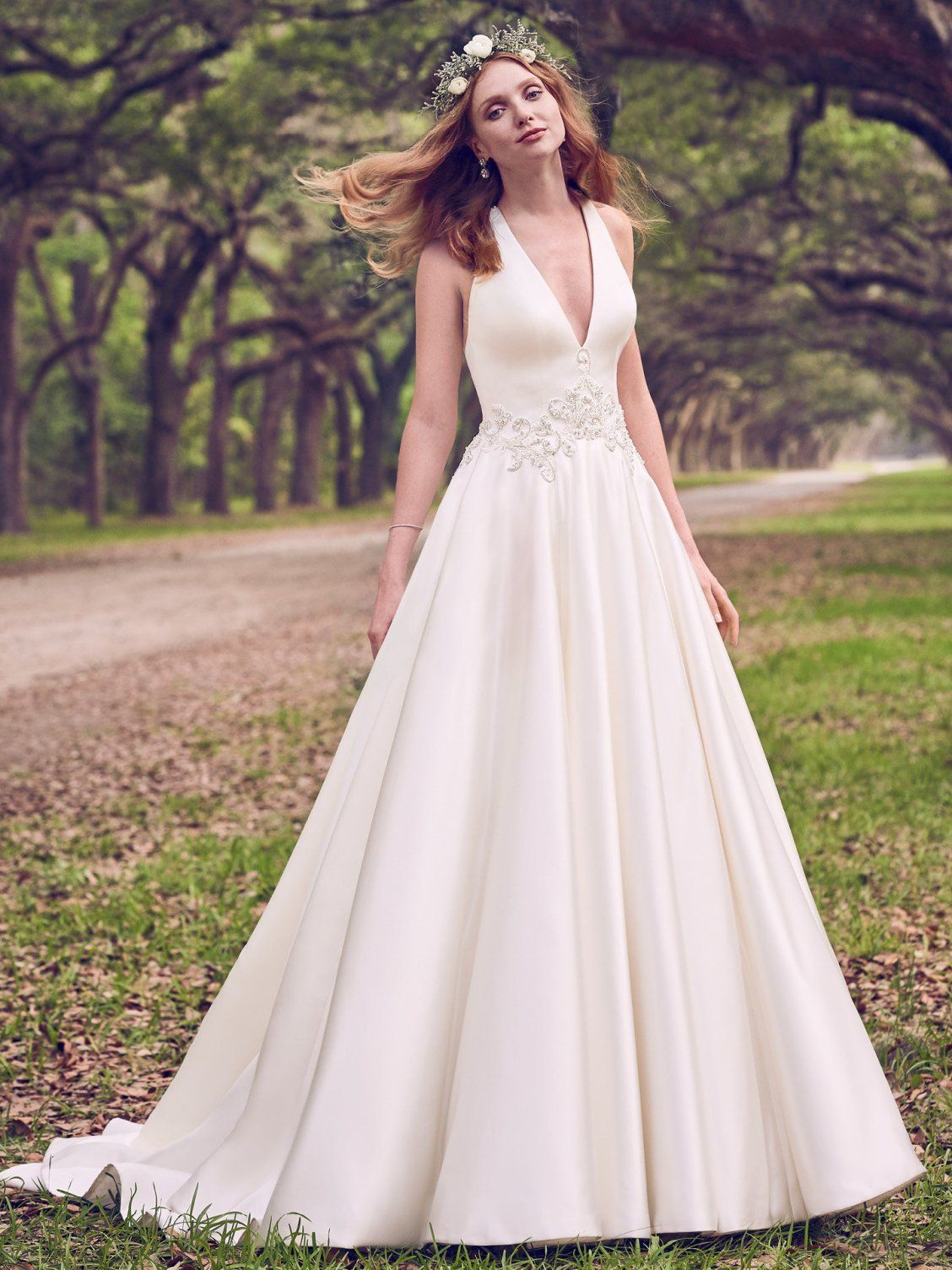 2f6a80546b6 Lovely satin on Corianne by Maggie Sottero! We love this vintage-inspired  look with modern details.