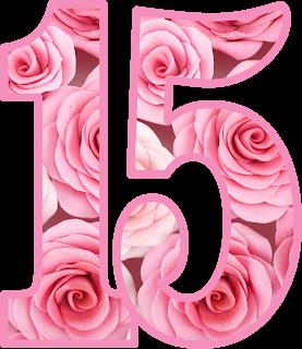 Pin On Imprimible Gratis Numero 15 Flores Rosa Png