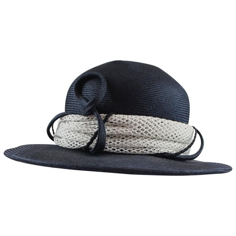 Suzanne Custom Millinery Navy and White Straw Hat with Ribbon 1