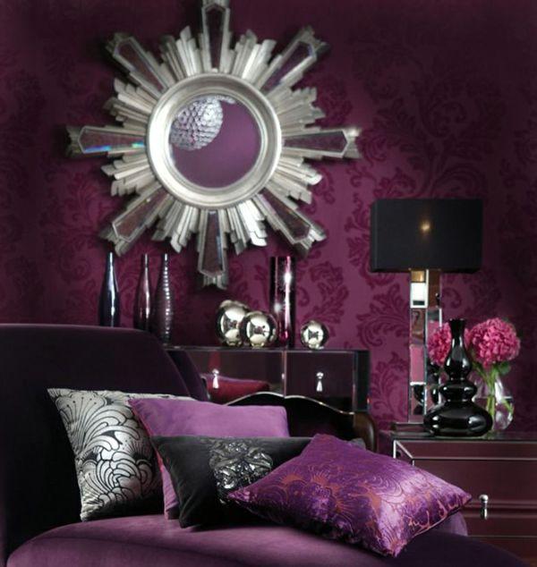 Rundes Luxus Spiegel Und Violett Wandgestaltung Und Bettbezüge Im  Schlafzimmer   30 Interessante Vorschläge Für Tapeten Im Schlafzimmer