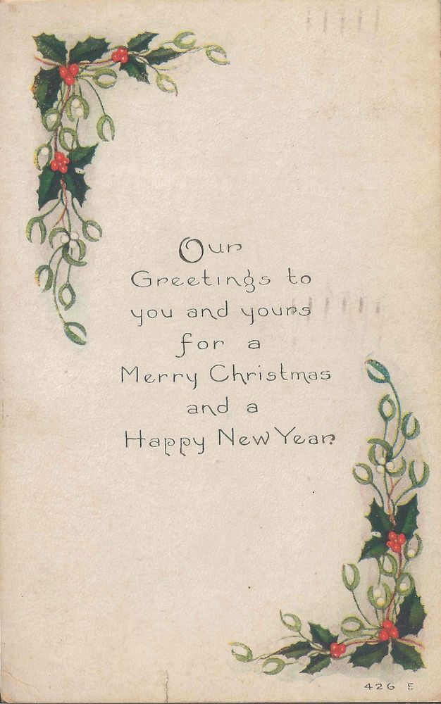 1918 edwardian christmas and happy new year card very elegant new year card christmas