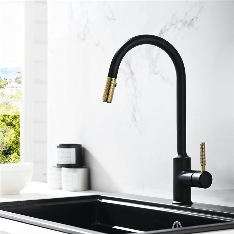 Pull Out Kitchen Faucet Modern Kitchen Sink Tap Single Handle Black Gold Modern Kitchen Faucet Black Kitchen Taps Black Kitchen Sink