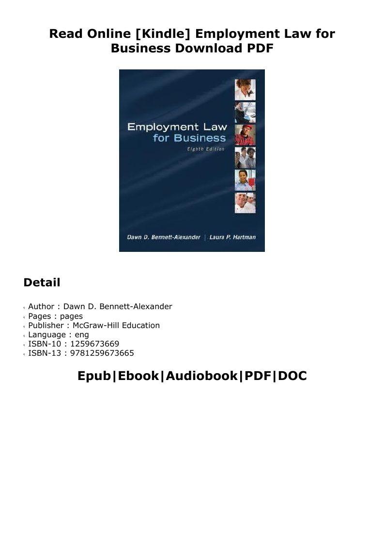 Pdf Employment Law For Business Dawn D Bennett Alexander Pdf