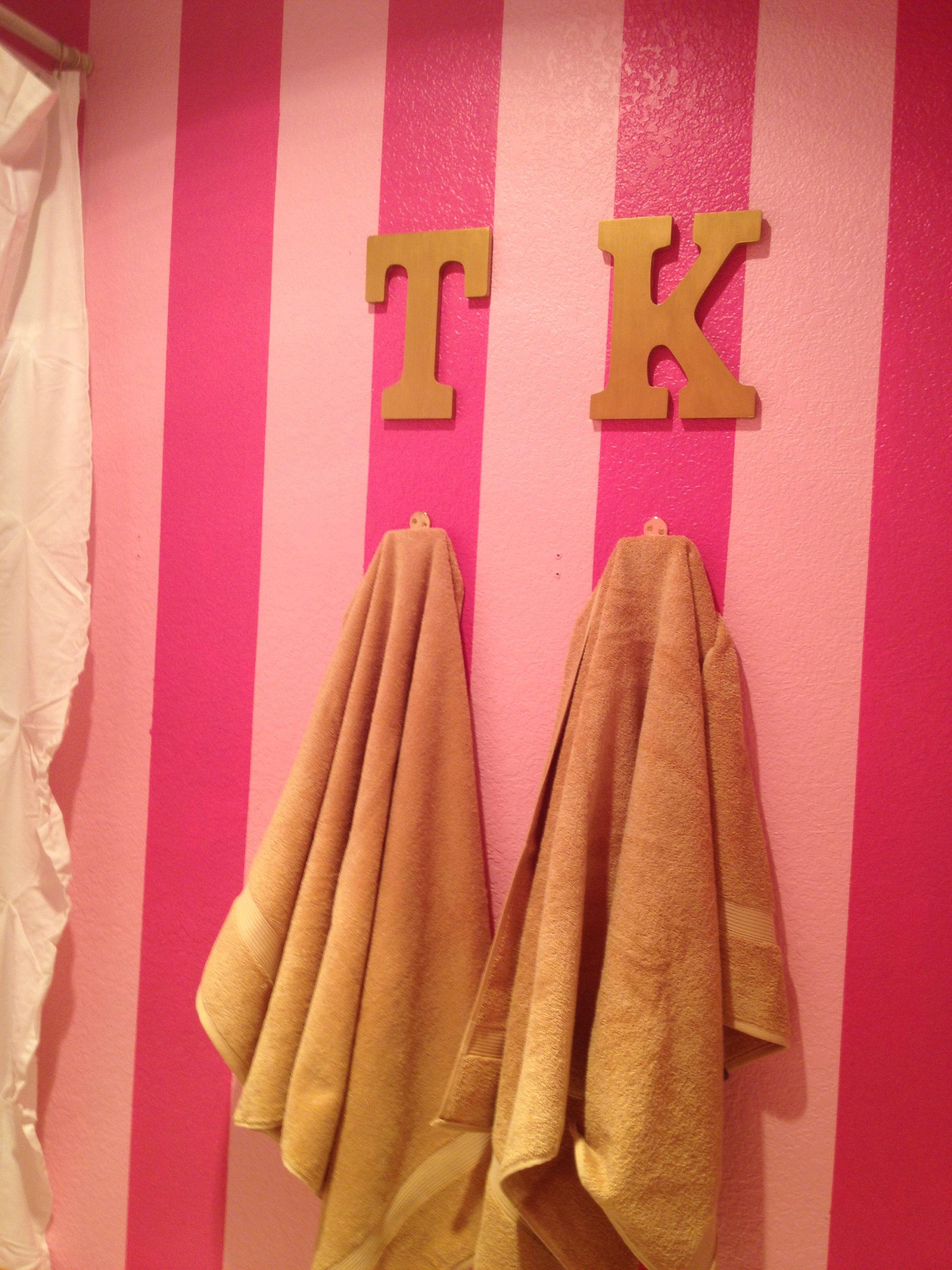 Victoria S Secret Bathroom Pink Gold Accents Striped Walls