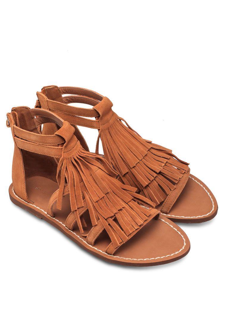 9db05299c638 Buy Mango Fringe Suede Sandals