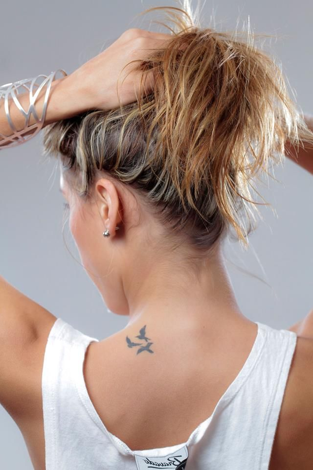 Small Tattoo Birds Flying Neck Placement Beautiful