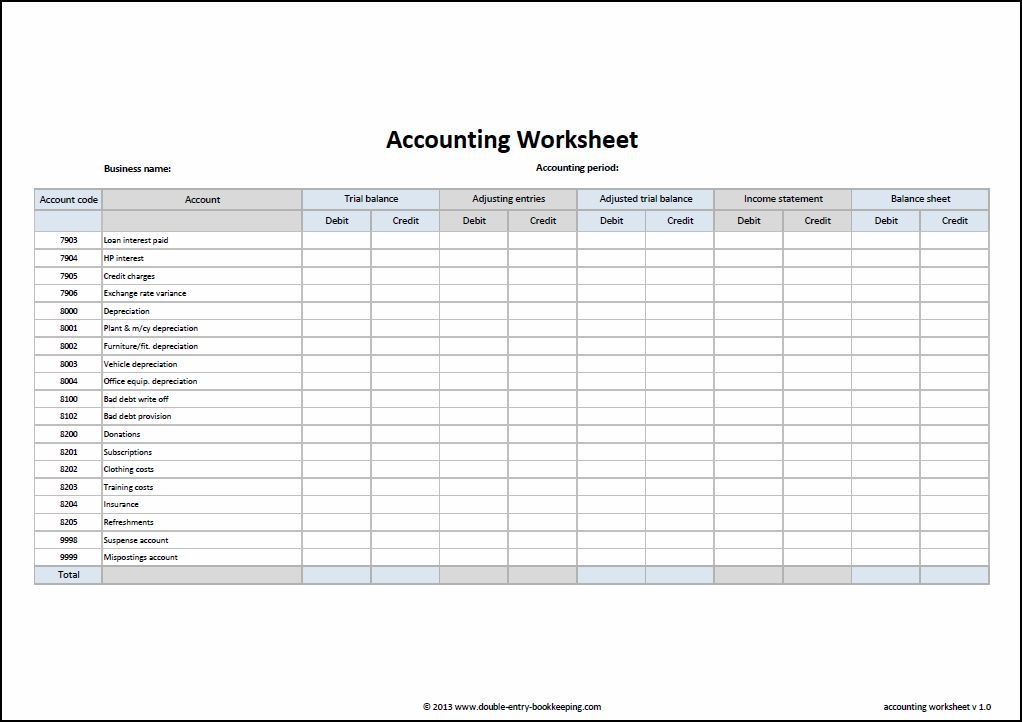 Accounting Worksheet Template Double Entry Bookkeeping Sight Word Akuntansi