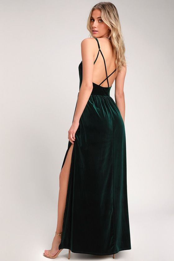 d9233cdff05bec Save the last dance for the Lulus Final Song Dark Green Velvet Maxi Dress!  Luxe stretch velvet shapes a princess-seamed bodice, supported by  adjustable ...