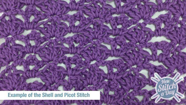 Shell And Picot Stitch Crochet Stitch 15 New Stitch A Day