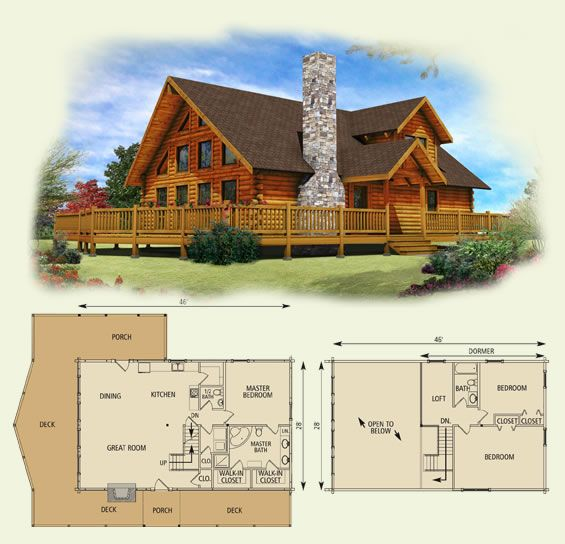lakefront ii log home and log cabin floor plan (one of my