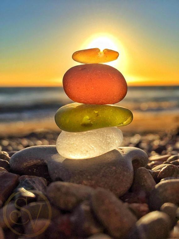 Sunny SoCal Seaglass Stack Print | Beach Photo Art | Coastal Living | California Ocean Wall Art | Sunset Home Decor | Mermaid Theme