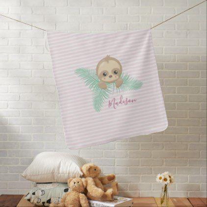 Cute Pink Baby Sloth Baby Monogram Baby Blanket | Zazzle.com #babysloth