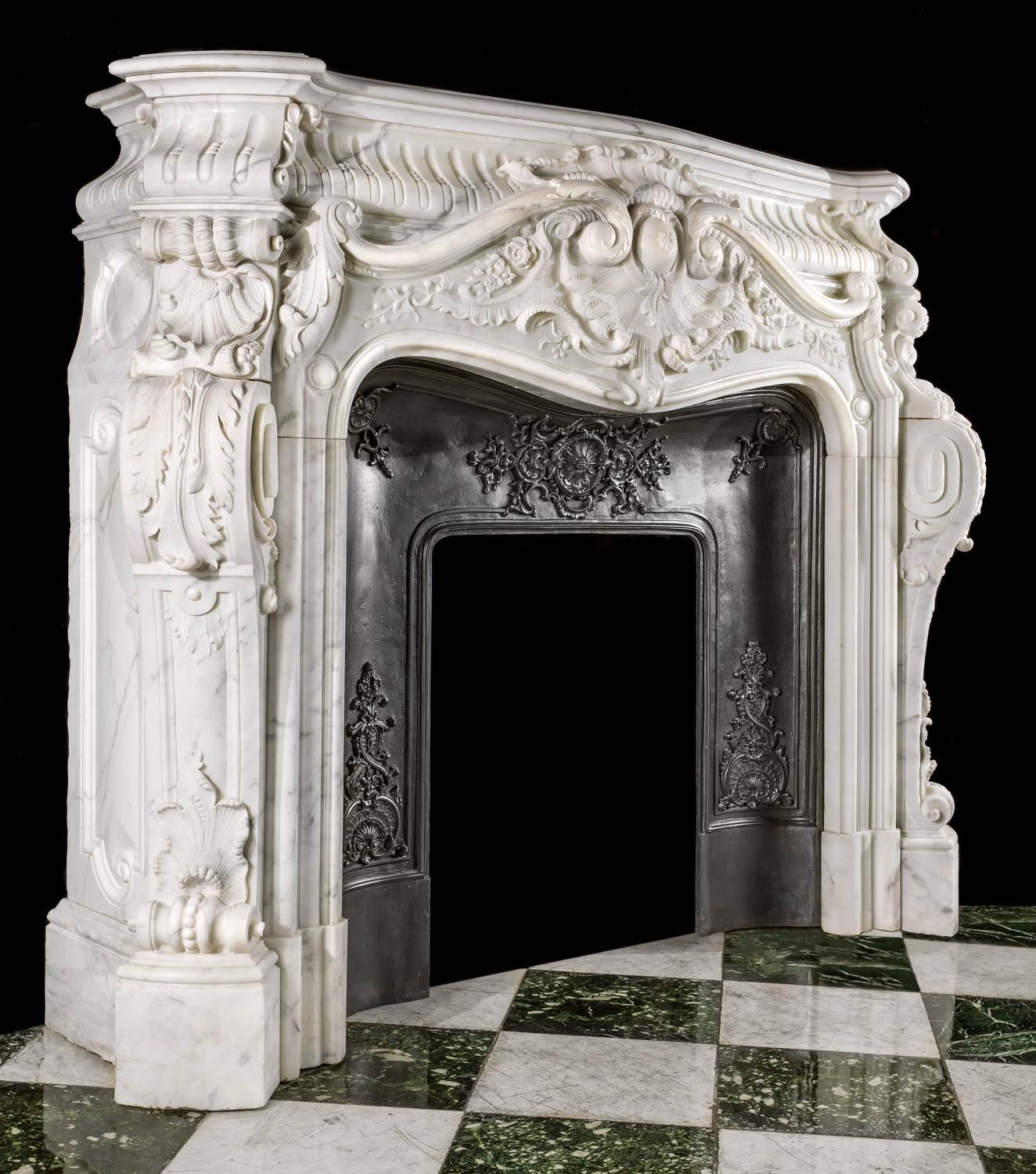 Large French Rococo Fireplace In Statuary Marble Marble