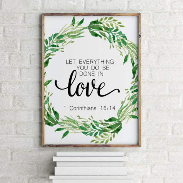 """Love poste Love quote Bible verse poster Bible verse quote""""Done in love"""" 1 Corinthians 16:14 Typography poster Gift idea Home decor Wall art"""