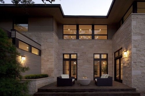 Exterior Siding Material Is Clear Cedar 1x6 Lap Gap Stain Is Cabot S Semi Transparent Pepperwood Brick Work Is A Mixture Of Contemporary Patio Transitional Home Decor House Design