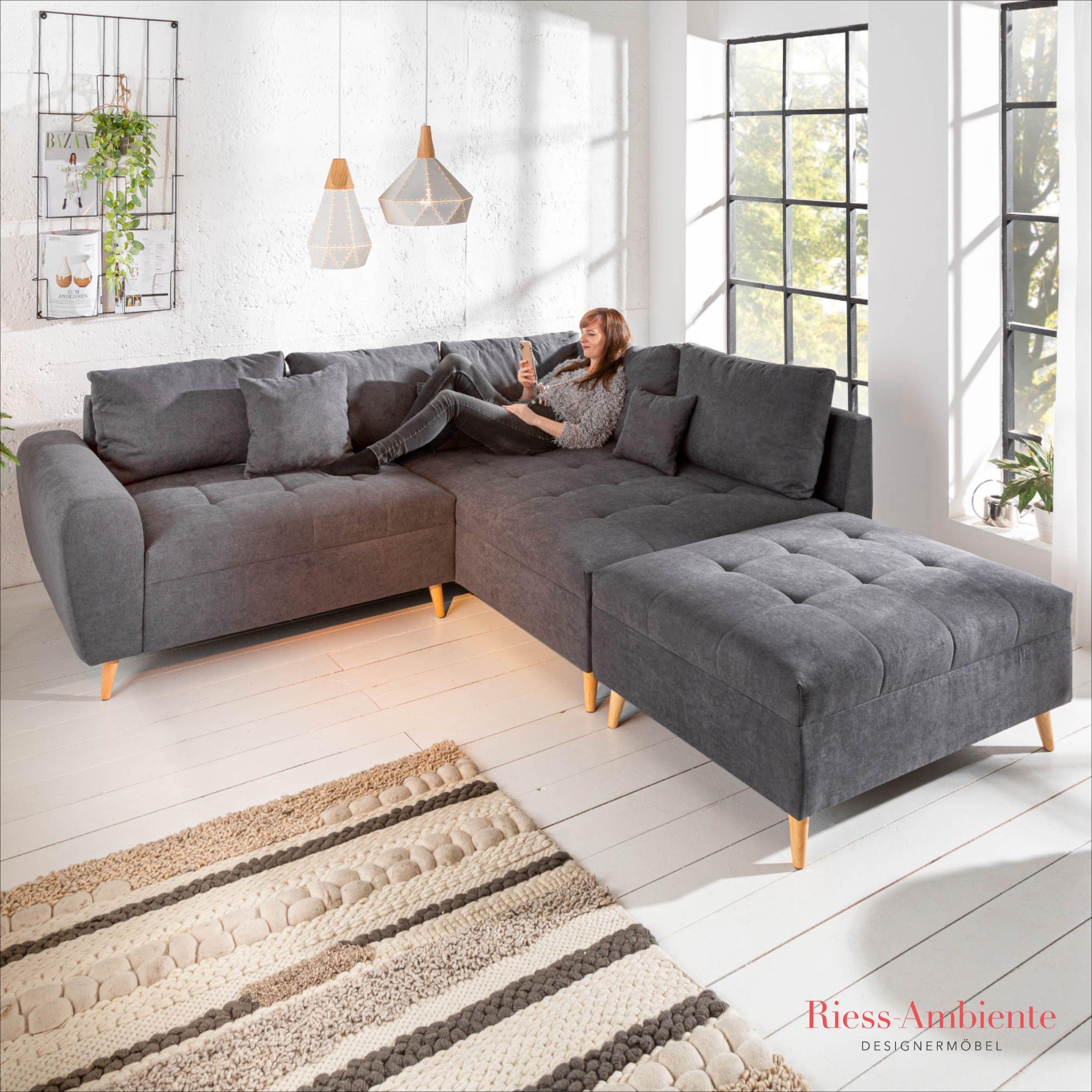 Design Ecksofa Scandinavia Anthrazit 250cm Nosag Polsterung Mit