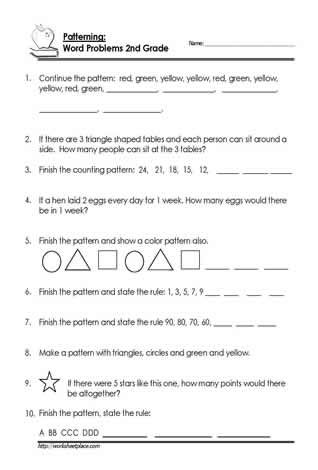 2nd Grade Algebra And Patterning Worksheets School Math