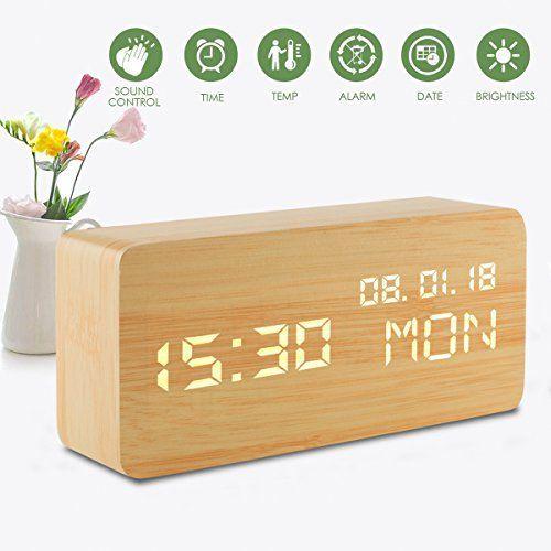 Gutes Produkt Eur 29 99 Led Digitale Analoge Wecker Holz