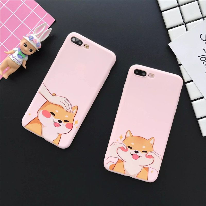 Cute Dogs & Cats Fundas Phone Cases for iPhone 6 6S 7 Plus Pink Color Cover Baby Skin Soft Silicone TPU Coque for Girls
