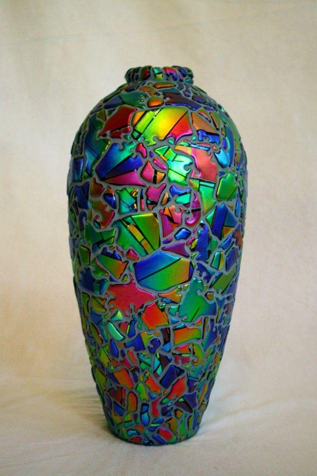 tall mosaic dichroic glass vase, Laurel Yourkowski