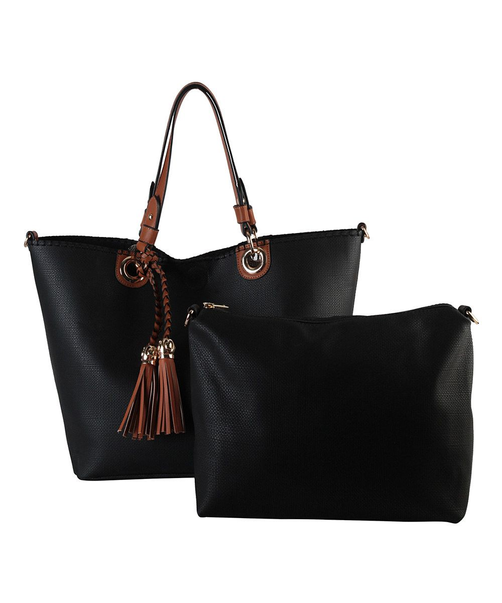 Look at this Black Tassel Tote & Cosmetic Bag on #zulily today!