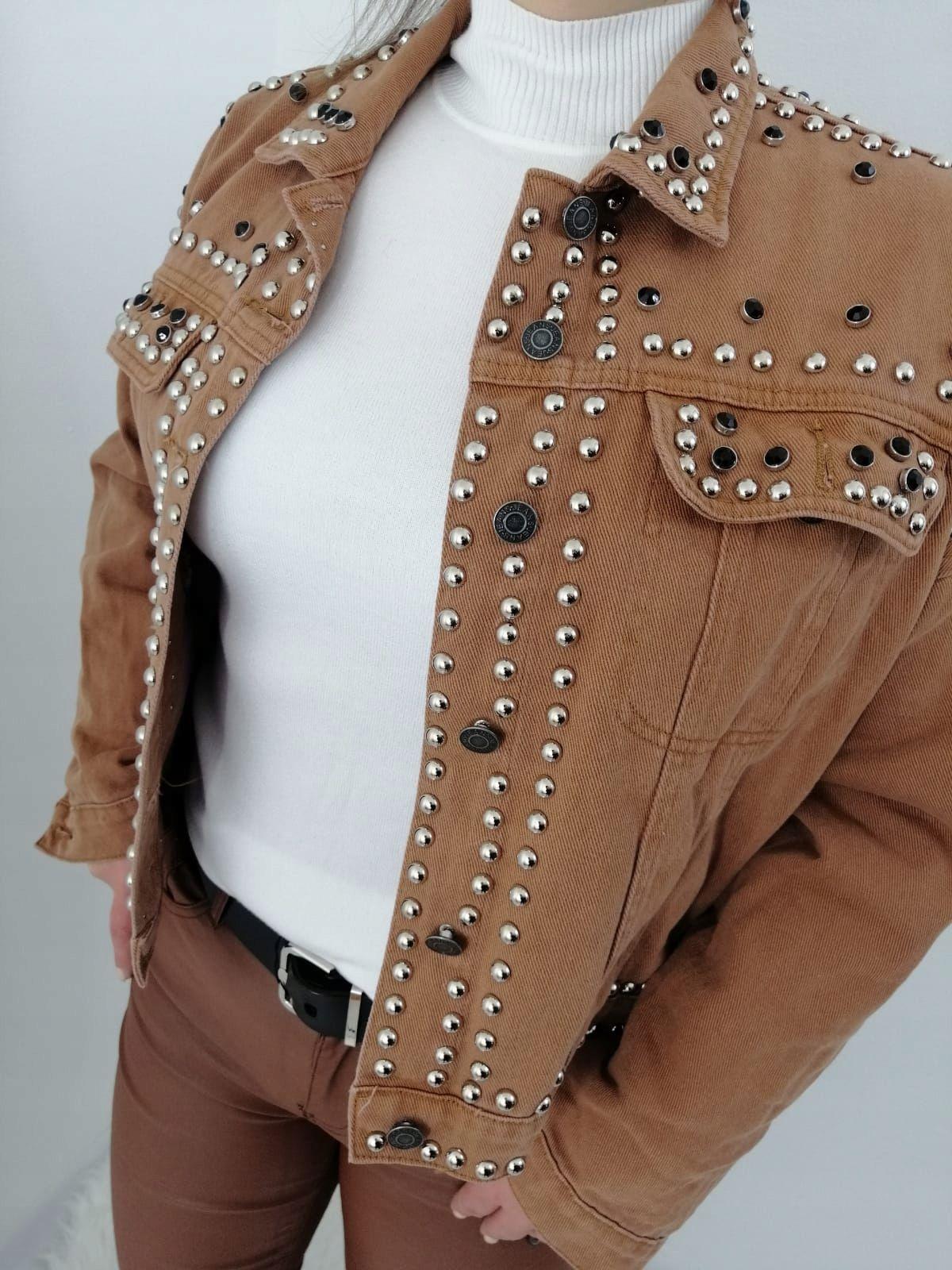 Kurtka Jeansowa Z Cwiekami 8634285645 Oficjalne Archiwum Allegro Fashion Brooch
