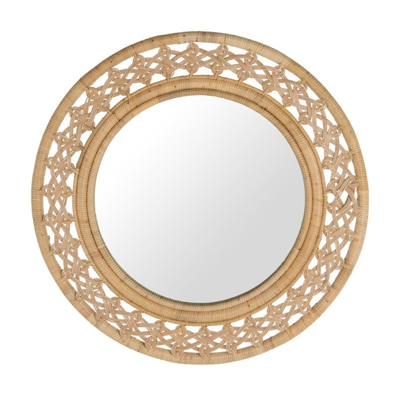 Round Rattan Braided Decorative Accent Mirror With Images