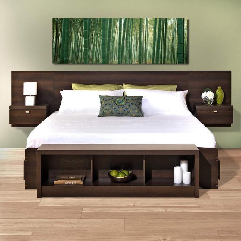 Floating Bed Headboard Heavy Duty Wooden Hanging Nightstands King
