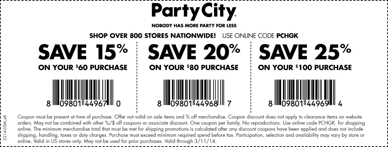 Pinned March 10th 15 Off 60 And More At Party City Or Online Via Promo Code Pchgk Coupon Via The Coup Party City Online Party Store Party Printables Free