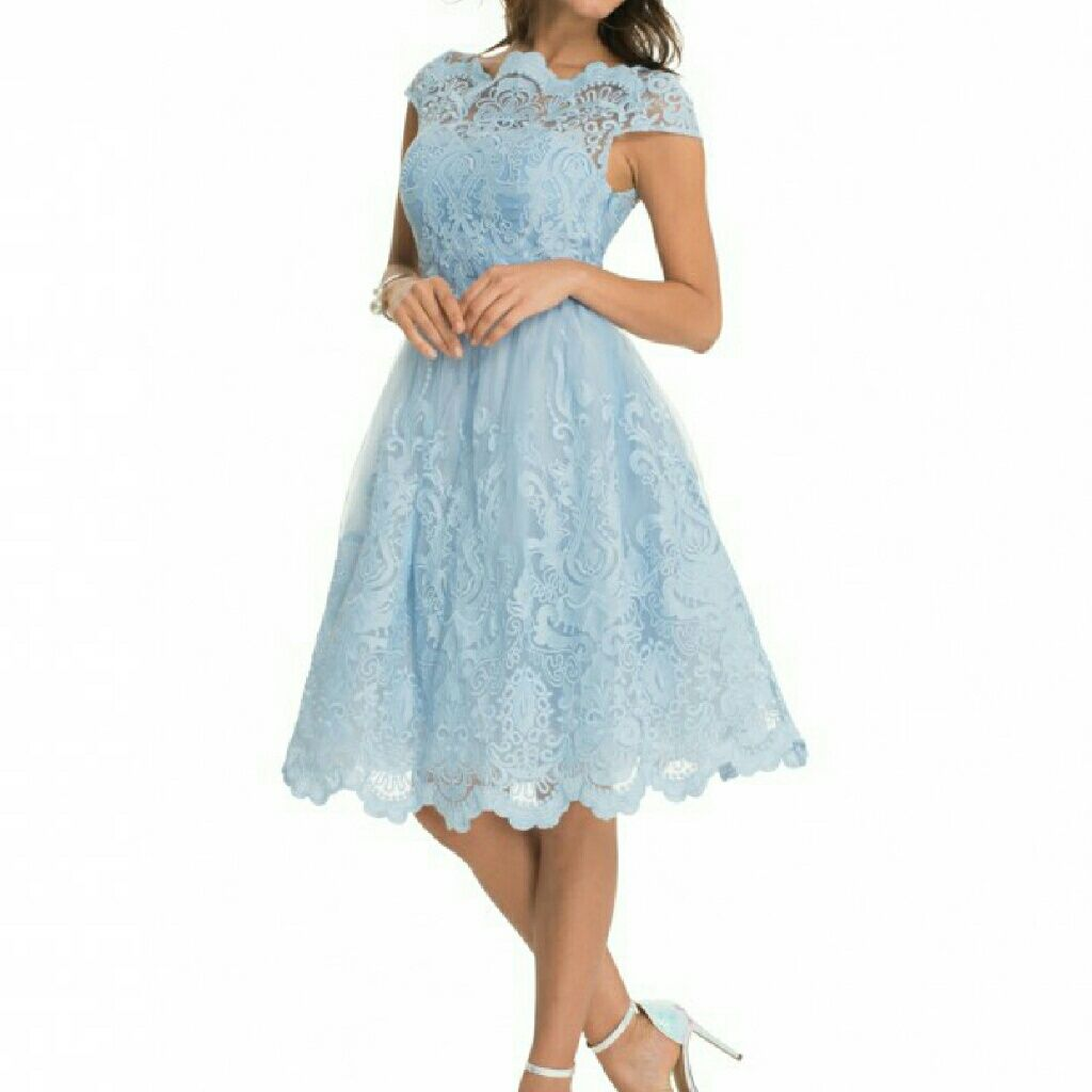 Enchanting Blue Chi Chi London Lace Dress Size 8 Cocktail Dresses Uk Cocktail Dresses With Sleeves Knee Length Bridesmaid Dresses