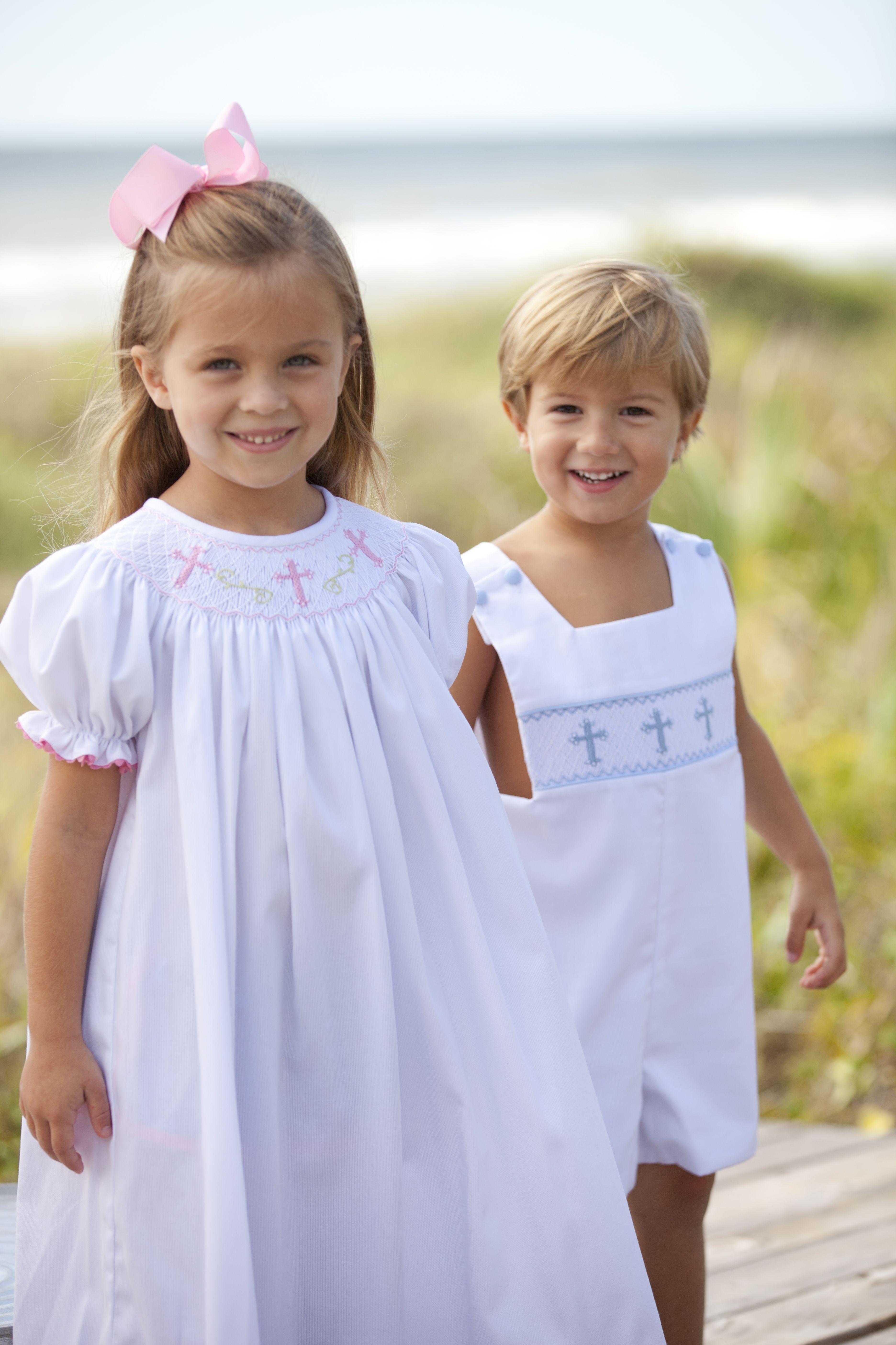 girls cross bishop dress and boys cross shortall adorable sibling