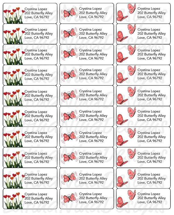 Butterflies and Hearts, avery Address labels, address label
