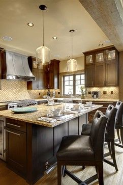 Large Gourmet Kitchen Custom Cabinets Design Ideas Pictures