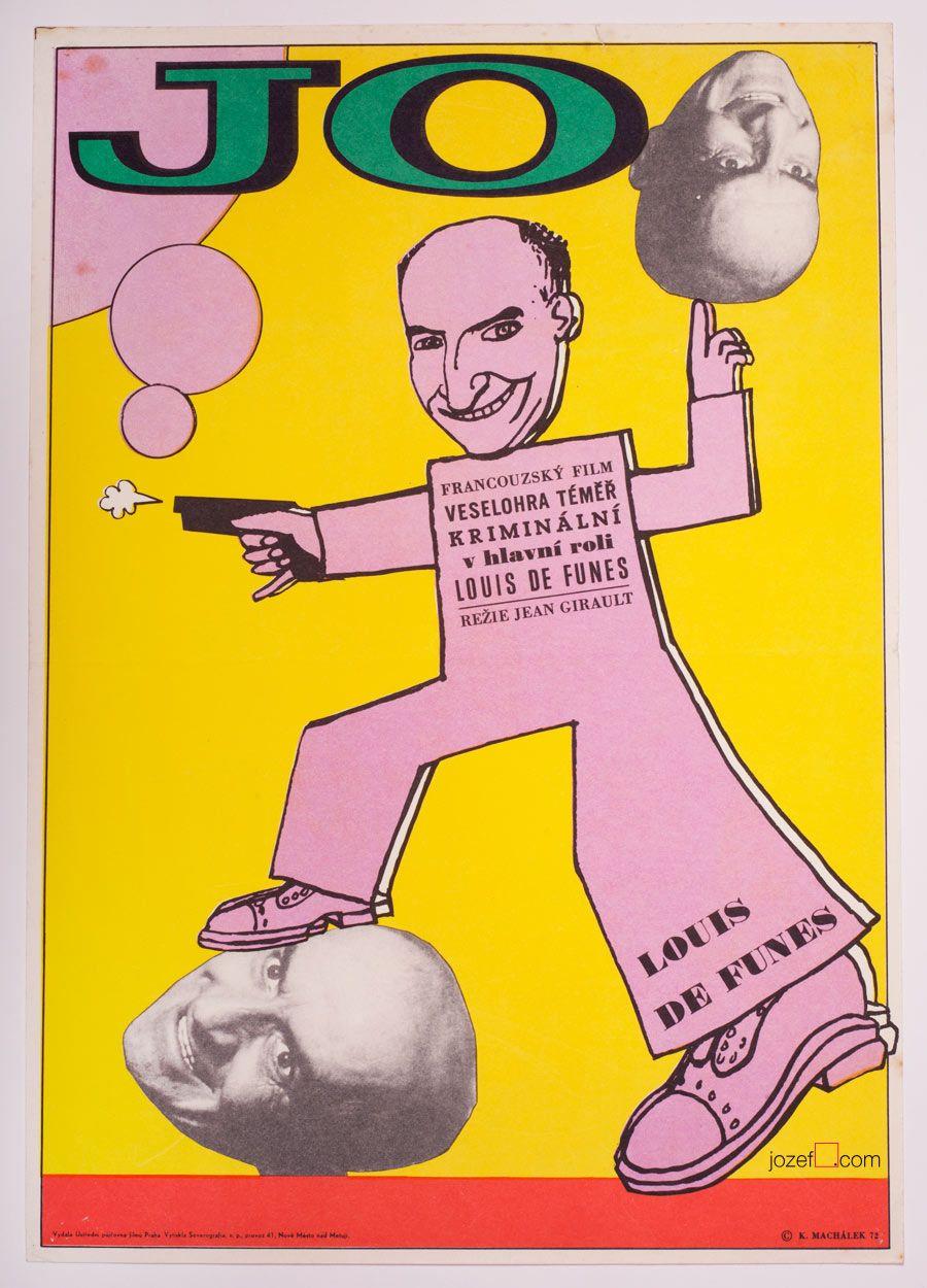 Movie poster with hilarious illustration with Louis de Funès. Poster design by Karel Machálek, Czechoslovakia, 1972. | #LouisdeFunès #graphicdesign