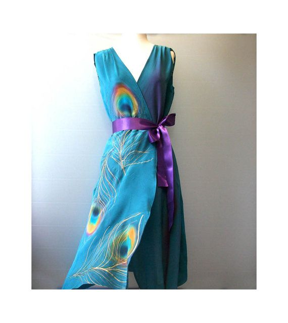 Silk Dress Hand Painted Wrap Party Bridesmaid by TanjaDesign, $255.00