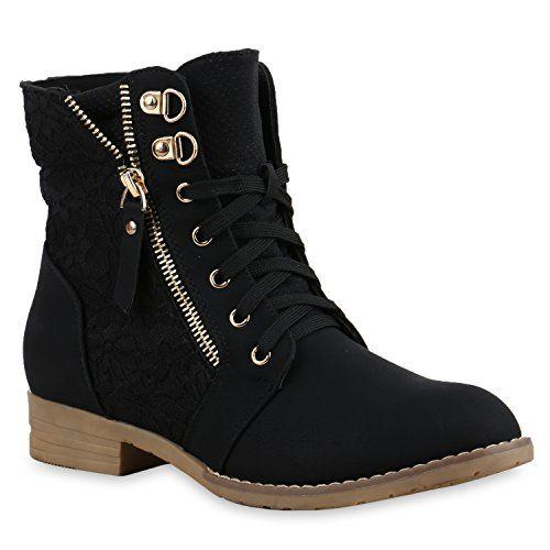 Stylische Damen Stiefeletten Worker Boots knöchelhohe