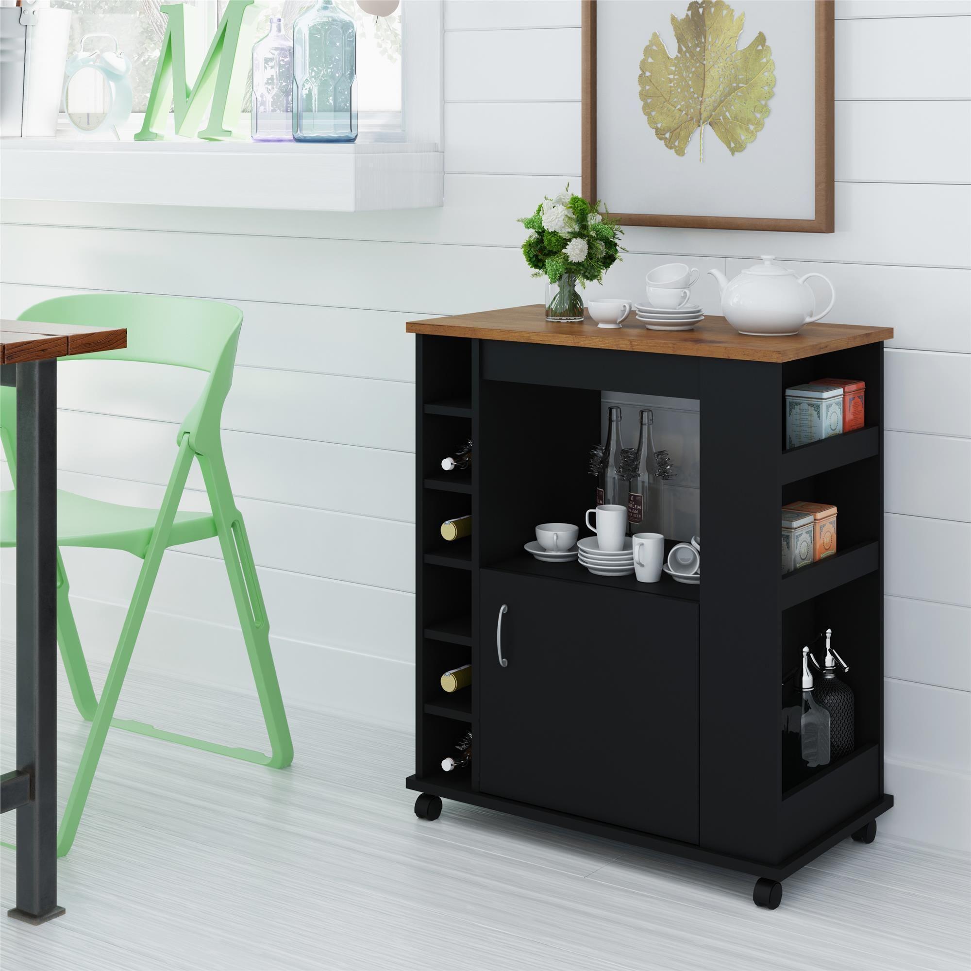 Laurel Creek Kitty Black Stipple Kitchen Beverage Cart