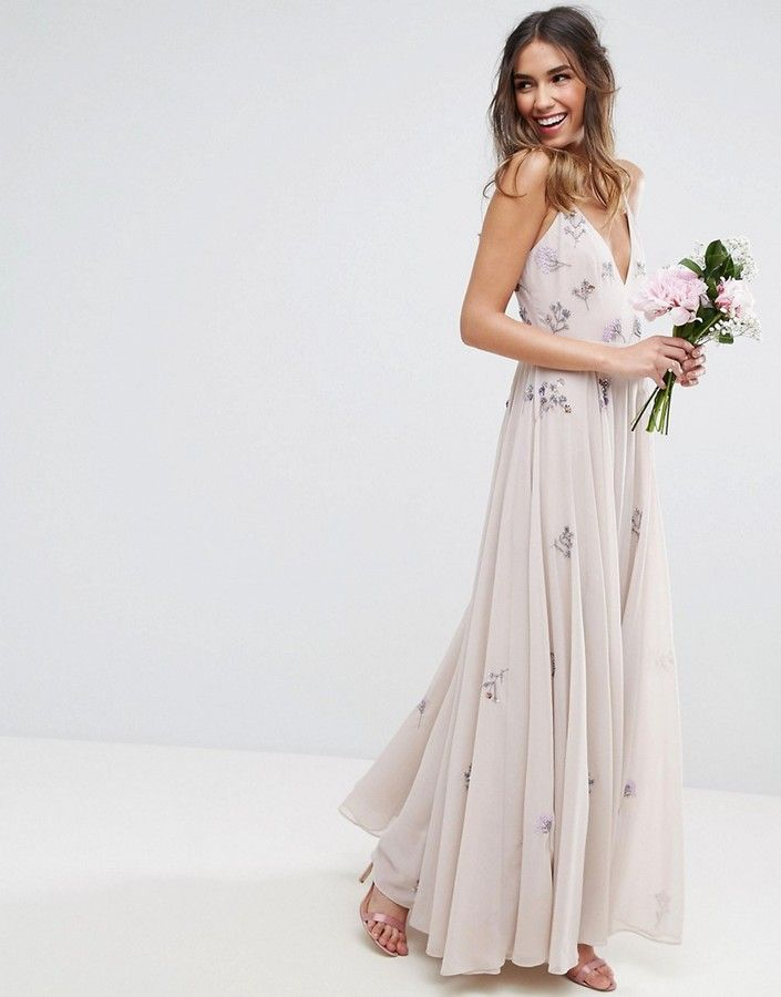 Asos Wedding Embellished Cami Maxi Dress Neutral Bridesmaid