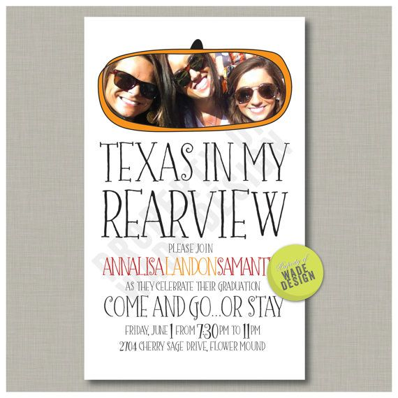graduation party texas in my rearview digital printable design