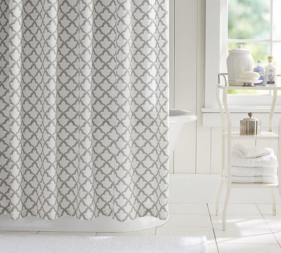 Marlo Organic Shower Curtain Pottery Barn Shower Curtain Gray