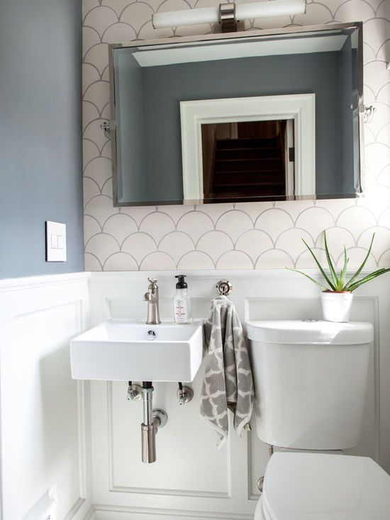 White Modern Morocco Tiny Powder Rooms Amazing Bathrooms Fish Scale Tile